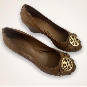 Tory Burch brown peep toe wedge pumps size 8